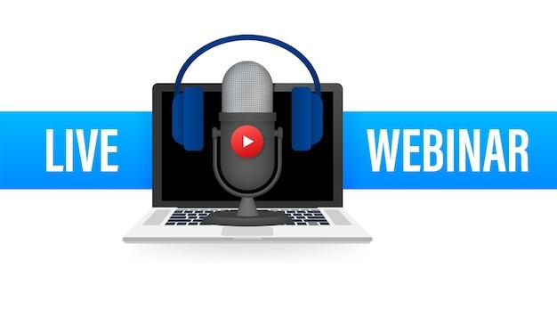 Ilustração do botão do webinar ao vivo