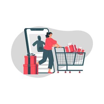 Ilustração do boxing day com garota empurrando o carrinho de compras