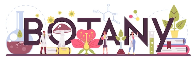 Ilustração do cabeçalho tipográfico da ciência da biologia