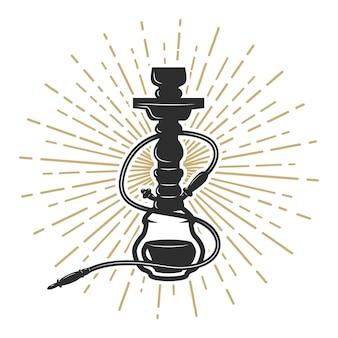 Ilustração do cachimbo de água no fundo branco. elemento para o logotipo, etiqueta, emblema, sinal. ilustração