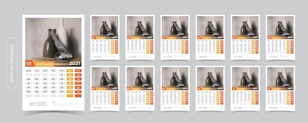 Ilustração do calendário de mesa 2021