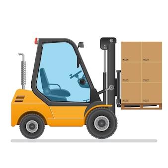 Ilustração do caminhão de empilhadeira isolada no branco.