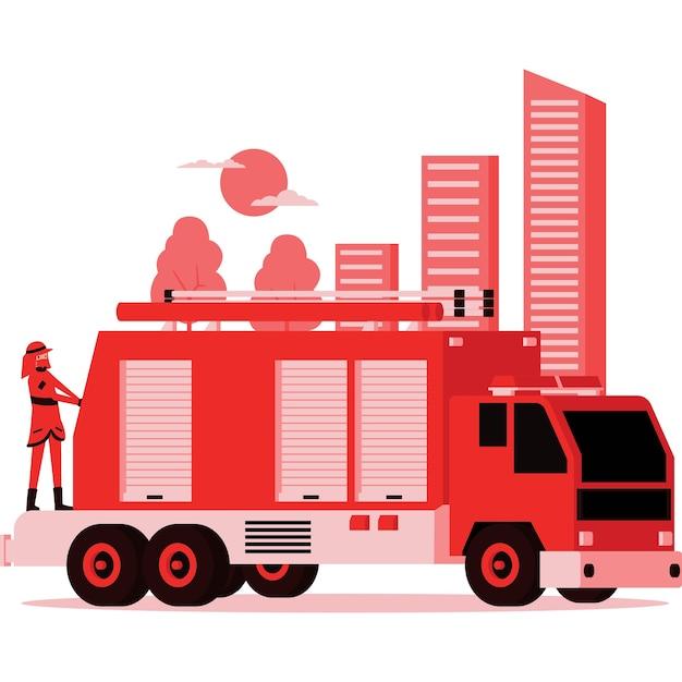 Ilustração do caminhão do bombeiro e do bombeiro nele