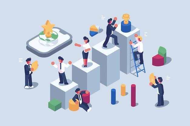Ilustração do caminho de realização e crescimento