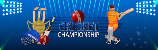 Ilustração do campeonato de críquete com equipamento de críquete