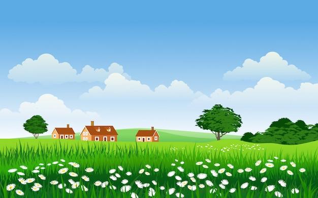 Ilustração do campo com casas e flores