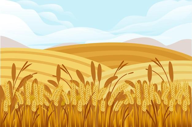 Ilustração do campo de trigo com paisagem rural e bom dia de sol no design do banner horizontal de fundo.