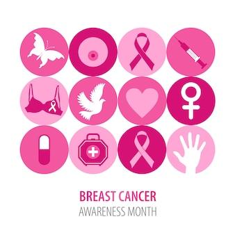 Ilustração do câncer de mama de ícones cor de rosa com fita de símbolo.
