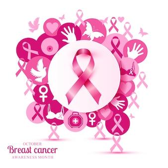 Ilustração do câncer de mama de ícones rosa com fita.