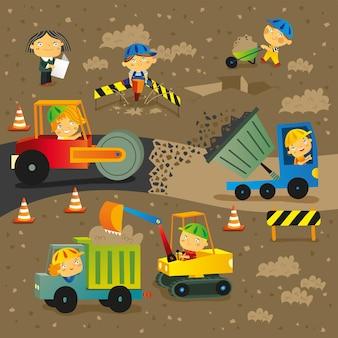 Ilustração do canteiro de obras e construção de estradas com projeto dos trabalhadores