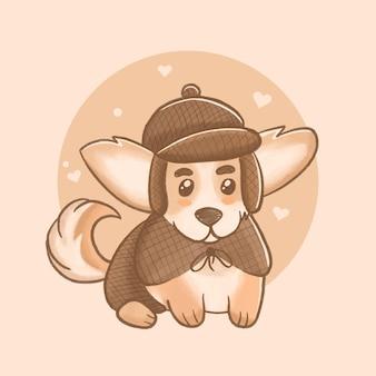 Ilustração do cão detetive corgi