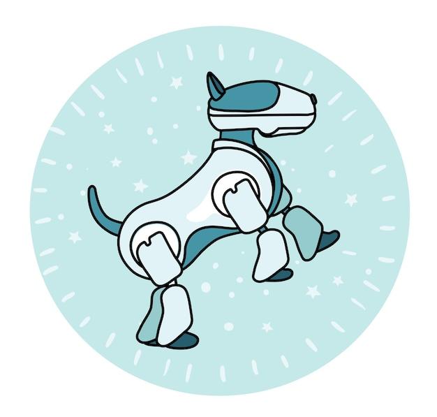 Ilustração do cão-robô apoiado nas patas traseiras