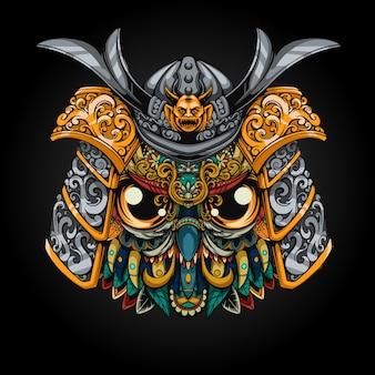 Ilustração do capacete da coruja mecha