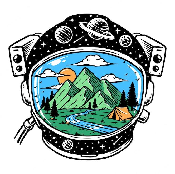 Ilustração do capacete do astronauta com vista para a montanha
