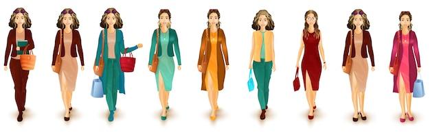 Ilustração do caráter urbano das mulheres no equipamento ocidental.