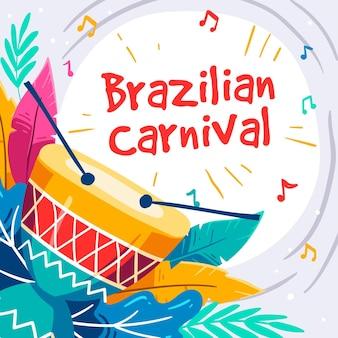 Ilustração do carnaval brasileiro desenhada à mão
