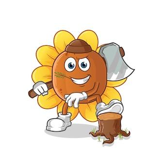 Ilustração do carpinteiro da flor do sol