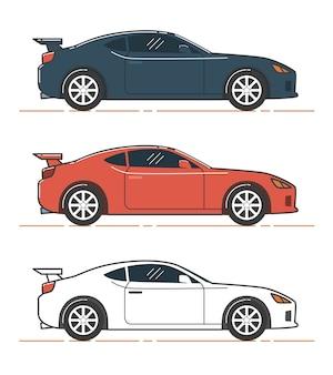 Ilustração do carro. vista lateral do carro azul, vermelho e branco