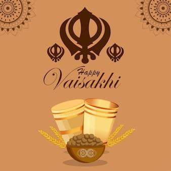 Ilustração do cartão comemorativo do festival de punjabi baisakhi