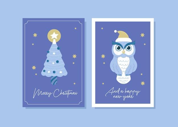 Ilustração do cartão da coruja do natal