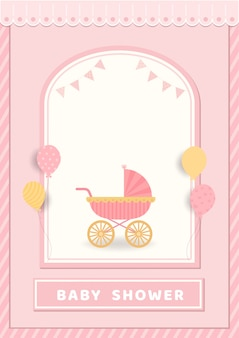 Ilustração do cartão da festa do bebê com o carrinho de criança no fundo cor-de-rosa.