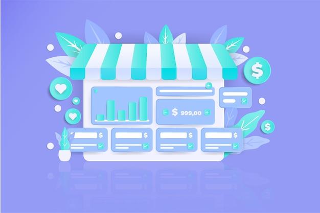 Ilustração do cartão de crédito 3d moderno incrível página de destino plana