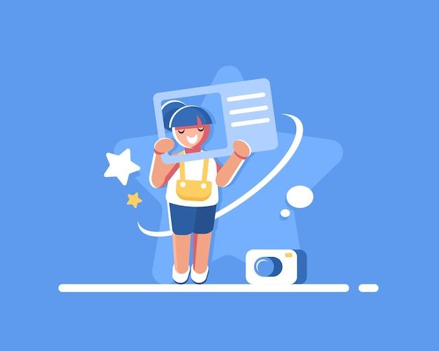 Ilustração do cartão de identidade e do perfil do usuário
