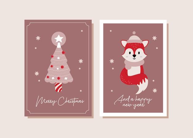 Ilustração do cartão de natal da raposa vermelha