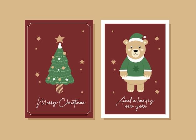 Ilustração do cartão de natal do urso
