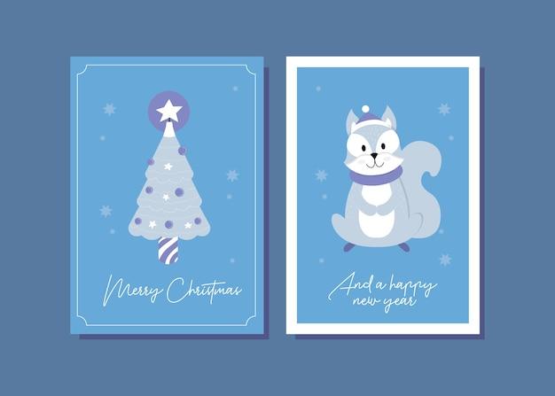 Ilustração do cartão de natal esquilo