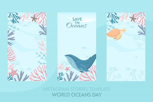 Ilustração do cartão do dia dos oceanos do mundo