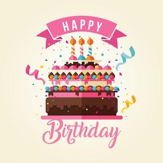Ilustração do cartão do feliz aniversario do tema do bolo