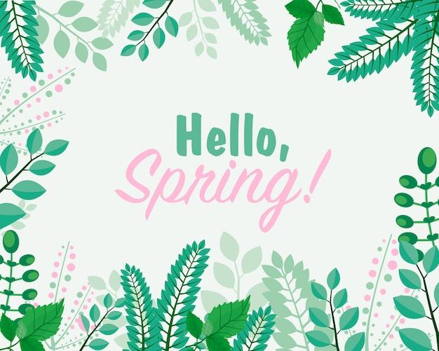 Ilustração do cartão. olá conceito de primavera. letras de primavera com folhas para o modelo de convite. bandeira de letras retrô, vintage.