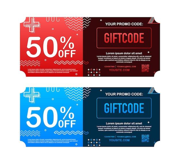Ilustração do cartão-presente vermelho e azul do modelo
