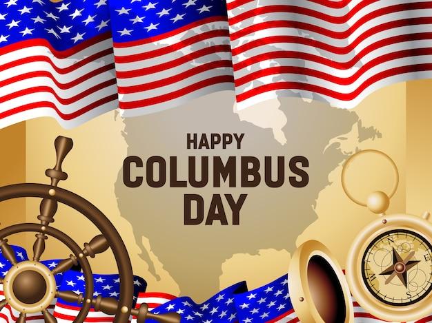 Ilustração do cartaz do dia de columbus feliz