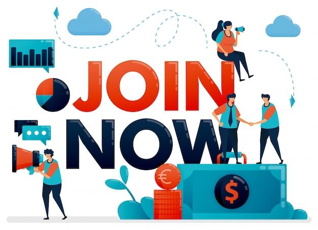 Ilustração do cartaz inscreva-se agora para o programa de referência. promoção de que estamos contratando. anúncio para vaga de funcionário, recrutamento