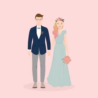 Ilustração do casal noivos para cartão de convite de casamento, cartaz, impressão de arte, presente.