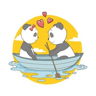 Ilustração do casal panda no barco com o coração. cartão e fundo