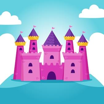Ilustração do castelo de conto de fadas com bandeiras