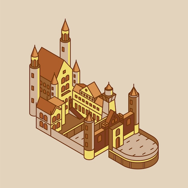 Ilustração do castelo de neuschwanstein na alemanha