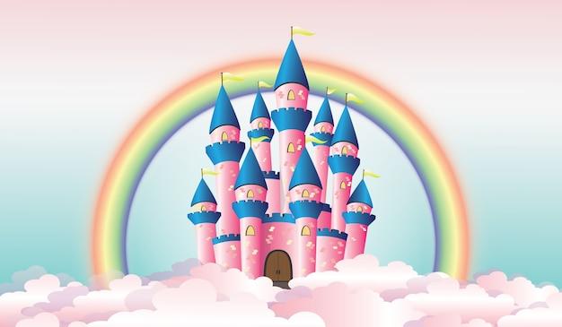 Ilustração do castelo entre as nuvens com arco-íris no fundo