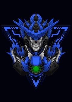Ilustração do cavaleiro cibernético do crânio