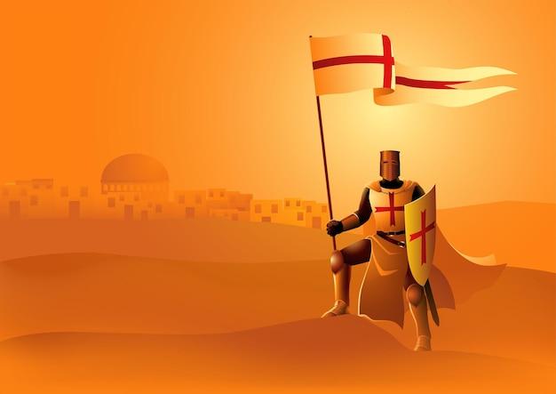 Ilustração do cavaleiro templário segurando uma bandeira e um escudo