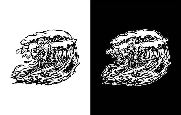 Ilustração do ceifador surfando, isolado em branco e escuro