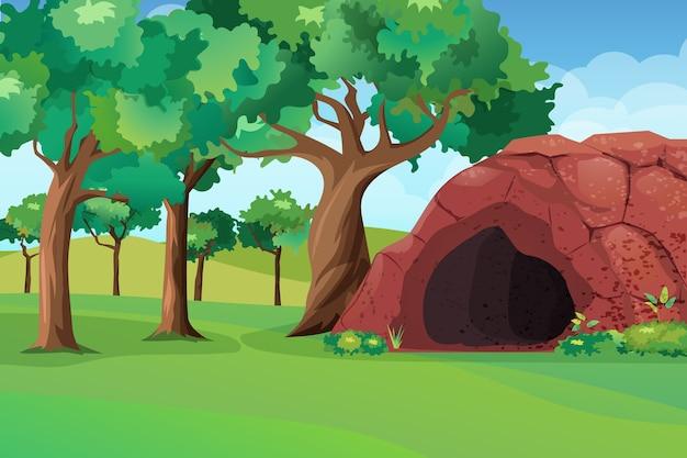 Ilustração do cenário da floresta com grama verde e caverna