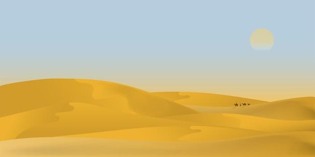 Ilustração do cenário da paisagem do deserto árabe