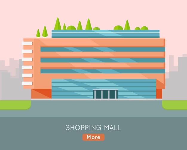 Ilustração do centro comercial no projeto liso.