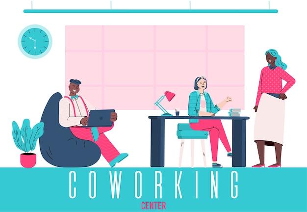 Ilustração do centro de coworking