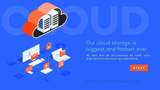 Ilustração do centro de dados em nuvem de vetor infográfico.