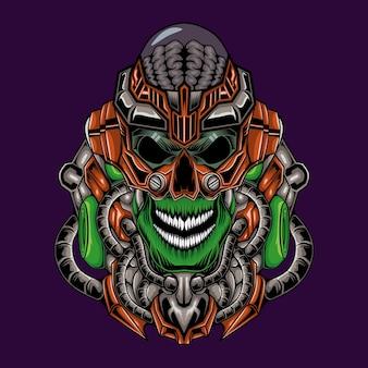 Ilustração do cérebro do monstro robô alienígena